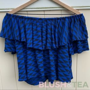 Royal Blue Manaola Ruffle Crop Top